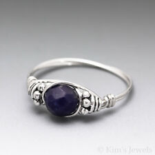 Lapis Lazuli Faceted Bali Sterling Silver Wire Wrapped Bead Ring