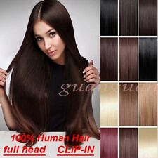 "7pcs 15"" 18"" 20"" 22"" Clip In Remy Real 100% Human Hair Extensions Full Head P833"