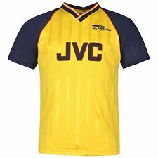 Arsenal FC 1989 Away Jersey Score Draw Mens Yellow Retro Football Soccer Shirt