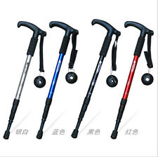 Folding Handle Cane Adjustable Retractable Aluminum Stick Hiking Walking Tools
