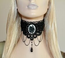 Victorian Gothic Black Velvet & Lace MOURNING ROSE Cameo Choker