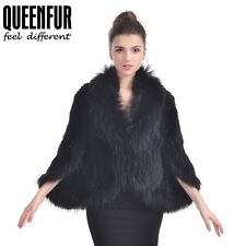 Queenfur Real Rabbit Fur Poncho Fox Fur Collar Shawl Fashion Fur Outwear Wrap
