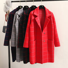 Fashion Women Knitted Cardigan Jacket Suits Grid Tops Sweater Girl Outdoor Coat