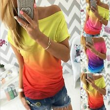 New Fashion Womens Boat Neck Gradient T Shirt Tops Short Sleeve Casual Blouse