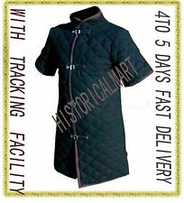thick black color viking Gambeson Medieval Padded collar short sleeves Armor.
