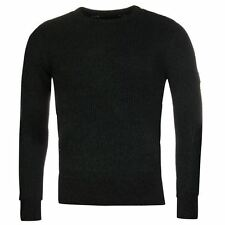 Firetrap Mens Gents 2 Colour Knit Jumper Sweater Crew Neck Long Sleeve Clothing