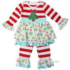 Girls Merry Christmas Tree Red Stripes Ruffle Top & Icing Leggings Outfit