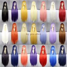 Lady Long Curly Straight Full Head Wig Cosplay Costume Party Fancy Dress White F