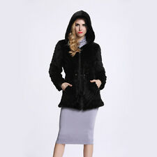 Women Vintage Real Knitted Mink Fur Coat Jacket Hat Warm Winter Outwear C0008