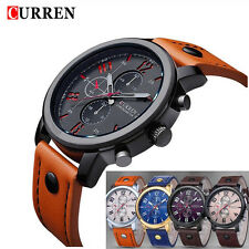 Fashion Curren Men's Leather Stainless Steel Sport Analog Quartz Wrist Watch #CN