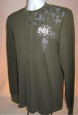 Mens new Hurley thermal long sleeve 3 button shirt size medium olive nwt