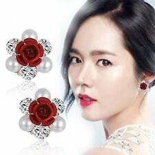 NEW Fashion Women Lady Girls Crystal Rhinestone Flower Ear Stud Earrings Gifts