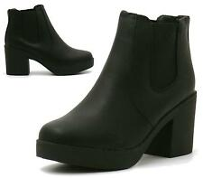 Ladies New Chelsea Chunky Low Block Heel Grip Sole Ankle Boots Shoes Size 3-8