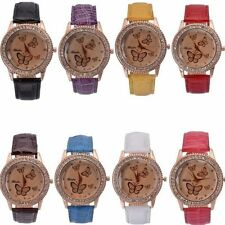 Fashion Womens watch Faux Leather Band Butterfly Analog Quartz Wrist Watch