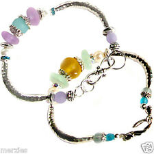MERZIEs Thai Karen U PICK hammered tube beads sea glass toggle bracelet #2&3