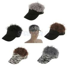 Novelty Fake Flair Hair Visor Cap Mens Funny Toupee Wig Party Costume Caps