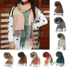 Women Ladies Winter Warmer Long Cashmere Neck Scarf Shawl Tassels Pashmina Grid
