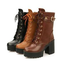 Womens Motorcycle Leather Shoes New Ankle Boots High Heels Zip Lace Up Fashion