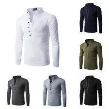 Men's Casual Slim Fit Long Sleeve Half Buttons Placket Henry Collar T-Shirt Tops