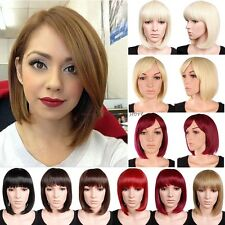 UK Short BOB Full Head Wigs Cosplay Party Daily Fancy Dress Neat Fringe Red D80