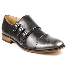 Men's Triple Monk Strap Cap Toe Slip On Loafers Fashion Dress Shoes
