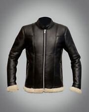 Womens real sheep skin flying leather jacket slim fit LATEST shearling FUR COAT