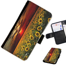 SUN05 SUNFLOWER SUNSET PRINTED LEATHER WALLET/FLIP CASE COVER FOR MOBILE PHONE
