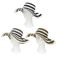 Women's Elegant Floppy Wide Brim Striped Straw Beach Sun Hat - Diff Colors