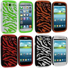 Hybrid Zebra Color Hard Soft Skin Case Cover for Samsung Galaxy S3 S III