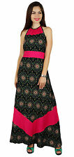 Bimba Womens Ankle Length Rayon Maxi Dress Halter Neck Floral Summer Gown