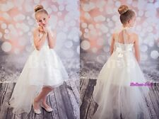 High Halter Flower Girl Dresses w/ Train Wedding Pageant Party Size 4-14 FG326