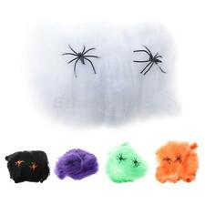Spider Web Halloween Props Home Party Bar Decoration Stretchy Cobweb W/ 2 Spider