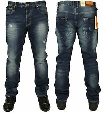 MENS NEW RIPPED JEANS ETO EM560 IN BLUE STONEWASH DESIGNER TAPERED FIT 28 TO 42