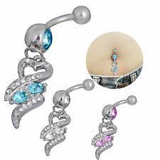 USA -Surgical Steel Dangle Heart Rhinestone Belly Ring Body Piercing Vogue Navel