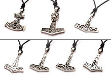 Thors Hammer Silver Pewter Charm Necklace Pendant Jewelry