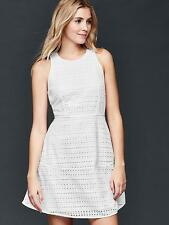 Gap NWT White Eyelet Fit & Flare Lined Sun Dress 12 14 $80