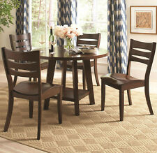 NEW 5PC MODERN WELLAND DARK BROWN FINISH WOOD ROUND DINING TABLE SET CHAIRS