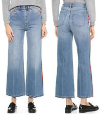 NWT $360 Marc By Marc Jacobs Cropped Wide Leg Denim Jeans Light Blue Red  Sz 29