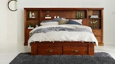 NEW CABIN SOLID TIMBER QUEEN BEDROOM SUITE / SET  WITH 2 STORAGE  DRAWERS