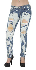 1A2945JS - Women's Juniors Low Rise Distressed Embellished Premium Skinny Jeans