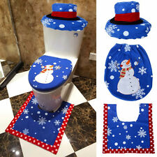 3PCs Santa Toilet Seat Cover and Rug Bathroom Set Christmas Happy Xmas Decor LOT