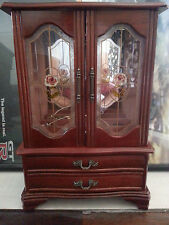 Wood Jewelry Armoire Chest Storage Display Box w/ Drawers & Mirror Cherry Color
