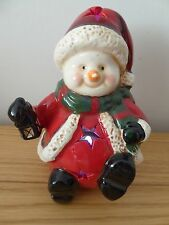 SALE 11cm LED Lit Dolomite Christmas Sitting Santa/Snowman With Lights Ornament