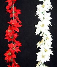 1.8m 6ft Poinsettia Artificial Christmas Garland Indoor Decoration - 2 colours