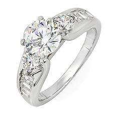GIA Certified Diamond Engagement Ring 1.86 Carat Round and Baguette Shape