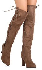 """Betani Womens Over the Knee Faux Suede 4"""" High Heel Lace Up Boots Gray Taupe NEW"""