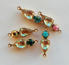 VINTAGE 2 SAPHIRET GLASS & RHINESTONE TEAR DROP CONNECTOR BEADS Assorted Colors