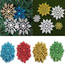 12Pc New Year Glitter Snowflake Christmas Ornaments Xmas Tree Hanging Decoration