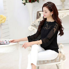 Fashion Women Loose Casual Patchwork Polyester Long Sleeve Blouse T-shirt Tops