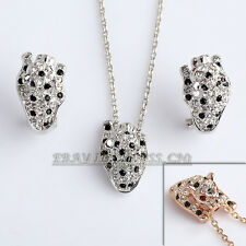 A1-S132 Fashion Leopard Necklace Earrings Jewelry Set 18KGP Crystal Rhinestone